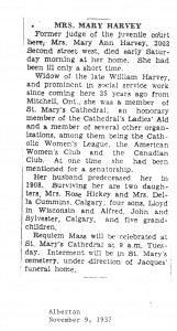 1937 Judge Mary Ann Harvey dies 2